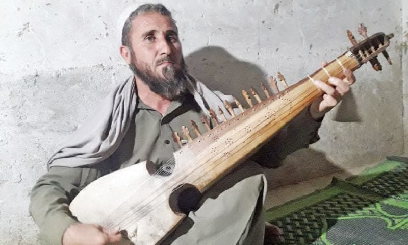 Blind rabab participant hopes for higher days of Pashto music.